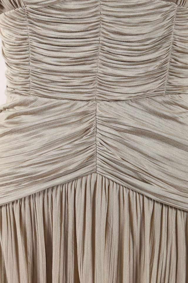 c0c61b8c45bb Burberry Wheat New Tags Prorsum Pleated Ruched Grecian Mid-length Cocktail  Dress Size 8 (M) - Tradesy