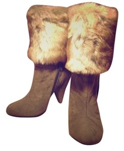 Nasty Gal Suede Olive Faux Fur Fur Trim Green Boots