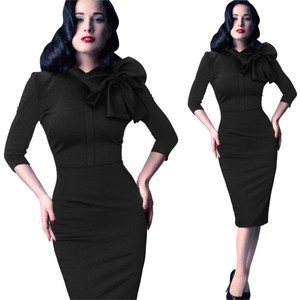 VfEmage Women Red Elegant Vintage 1950 Pinup Retro Rockabillly Sleeve Sheath Bodycon Wiggle Party Work Dress
