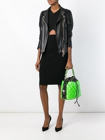Moschino Quilted Bucket Drawstring Lime Tote in Green