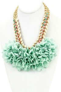 Unknown Mint Fabric Floral Bib Statement Necklace
