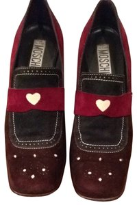 Moschino Brown, Burgundy, Green And Cream Pumps