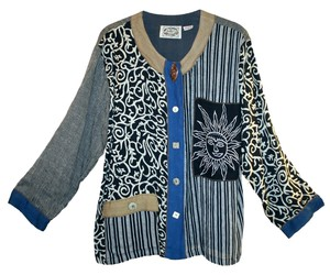 24 Karat Jacket Button Down Shirt Blue Multi