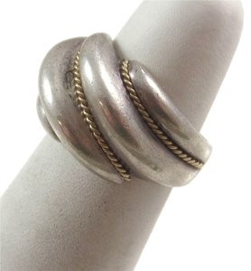 Tiffany & Co. TIFFANY CO-TIFFANY CO. TWISTED SHRIMP ROPE STERLING SILVER 18K GOLD RING; Size 5, FREE SHIPPING!