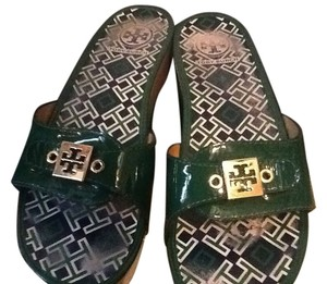 Tory Burch Patent Leather Slides Mules Tb Summer Spring Green Sandals