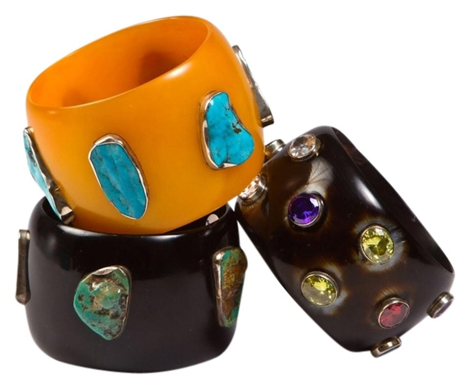 a8519599c1a Marigold Black Horn Wide Resin Bangle with Stones Bracelet - Tradesy