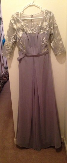 Gray Lace Chiffon Feminine Bridesmaid/Mob Dress Size 12 (L)