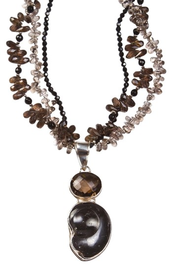 Other Smoky Topaz and Fossil Necklace