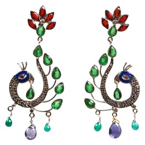 Peacock Gem and Enamel Earrings