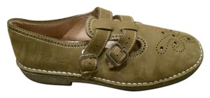 Kickers Leather Mary Jane Flat Oxford Earthy Green Flats