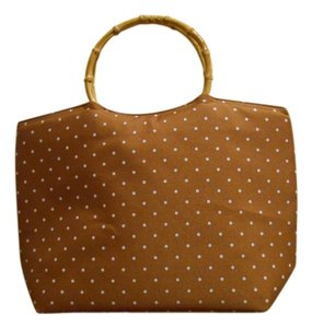 Lady Jayne Dot Lunch Diaper Tan Tan Summer Spring Office Trend Bamboo Handles Bamboo Lined Zip Zipper Zippered Tote Hand A Light Brown with White Polka Dots Beach Bag