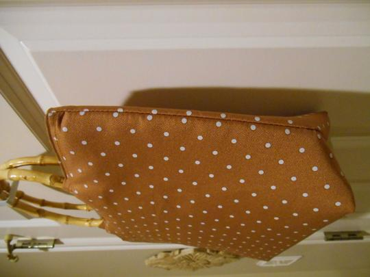 Lady Jayne Purse Diaper Tan Tan Summer Spring Office Trend Bamboo Handles Bamboo Lined Zip Zipper Zippered Tote Shoulder Hand Light Brown with White Polka Dots Beach Bag