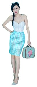 Other Modern & Old vintage retro limited edition English gingham check mint blue suit (SIZES 0,2,4,6,8,10,12...)