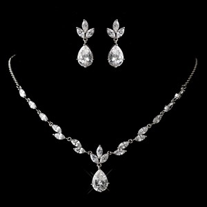Dainty Silver Plated Cz Wedding Jewelry Set