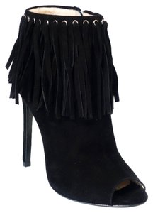 Prada Leather Peep Toe Fringe Black Boots