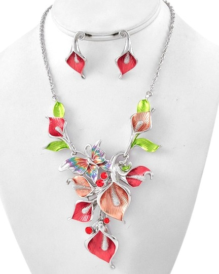 Unknown Floral and Butterfly Theme Orange Silver Necklace Set