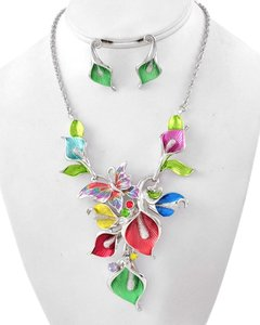 Unknown Floral and Butterfly Theme Multi-Color Silver Necklace Set