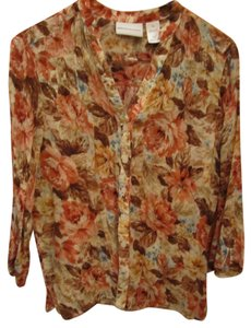 Alfred Dunner Quality Deep Floral V Neck Button Front 3/4 Sleeve Lite 10 Top Multi Brown Ivory Tan Rust Blue