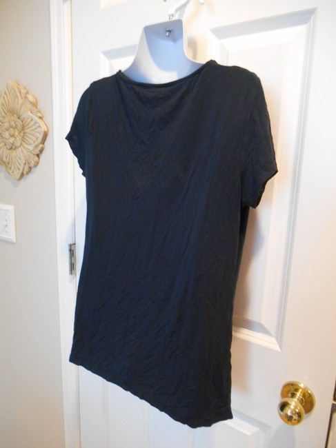Tahari Soft Gathers Washable Summer Spring Basic Dressy Casual T Shirt Navy Blue