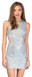 Tobi Sequin New Years Shimmer Shine Silver Holiday Cut Exposed Futuristic Modern Costume Cute Adorable Affordable Forever 21 Dress