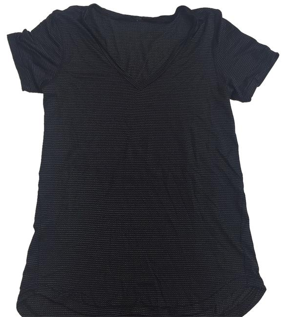 Item - Black with Silver Sripes Activewear Top Size 8 (M, 29, 30)