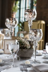 Set Of 3 Mercury Glass Pedestal Candle Holders (12