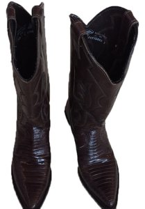 Tony Lama Cowboy Cowgirl Leather Kicker Brown Boots