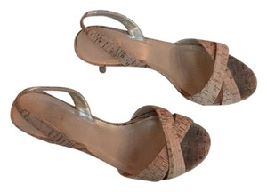Stuart Weitzman Beige Neutral Slingback Strappy Casual Heel Natural cork Platforms