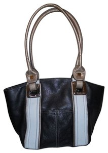 Tignanello Leather Tote in Black, white & gold