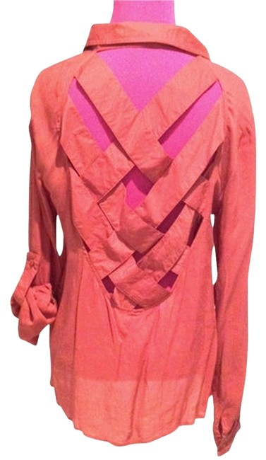Other Open Back Woven Chic Fun Sexy Night Long Sleeve Blouse Button Down Shirt Coral