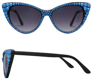 Other Office Glam Blue Rhinestone Crystal Accent Cat Eyes SunGlasses