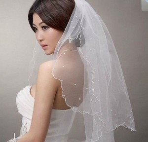 White 2t Pearl Satin Edge Wedding Veil