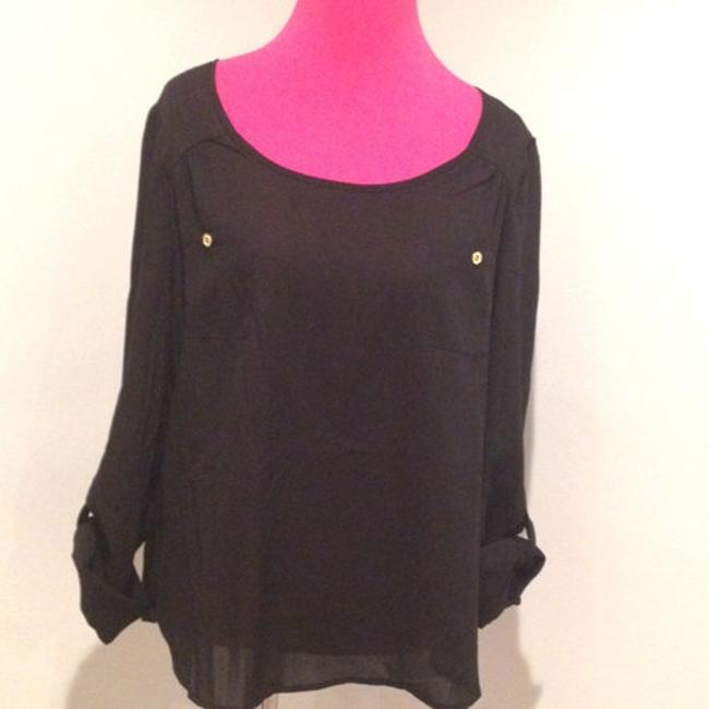 Blu Pepper Cutout Open Patch Pocket Large Long Sleeves Rolled Cuff Weekend Wear Chic Sexy Shirt Top Black