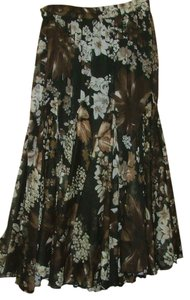 Denim 24/7 Chiffon Boho Floral Skirt Black Brown