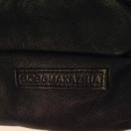 BCBGMAXAZRIA Bcbg Max Aria Leather Crytstal Fancy Goingout Shoulder Diamond Black Clutch