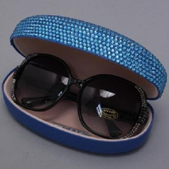 Other Office Glam Blue Rhinestone Crystal Accent SunGlasses Case