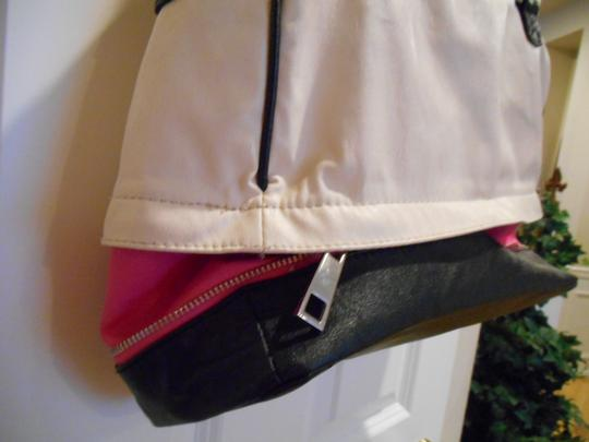 mark. Convertible Purse Spring Summer Avon Zip Pink Bold Bold Handbag Bowling Ball Bowling Tote Tech Gym Diaper Carry Satchel in Black white fuchsia