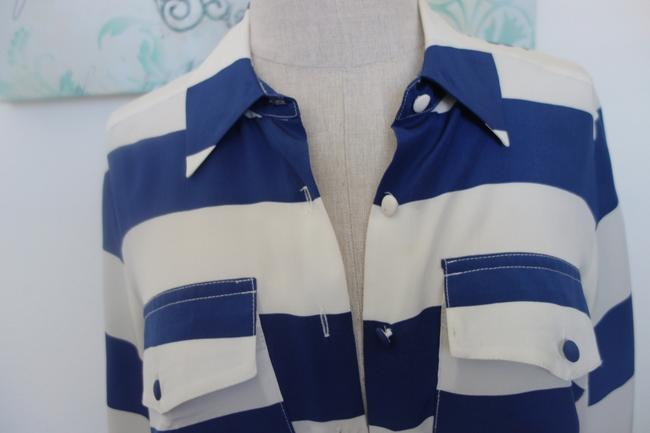 Gemma Blouse Striped Striped Blouse Shirt Chic Fashion Style Button Down Shirt White and Navy
