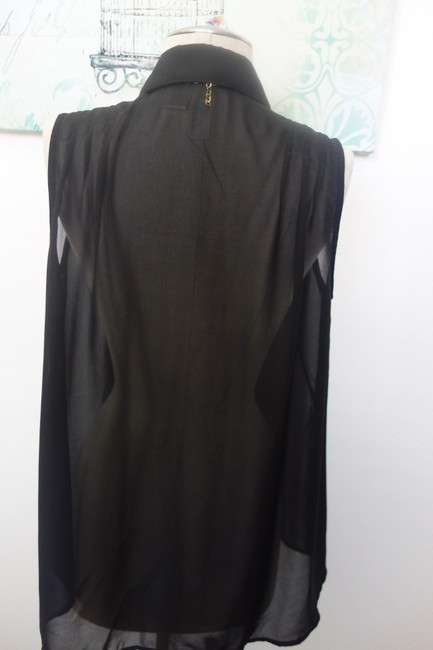 Mimi Chica Sleeveless Sleeveless Blouse Sexy Silk Button Down Shirt Black