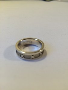 Tiffany & Co. Tiffany & Co. Atlas Roman Numeral Sterling Silver and Titanium ring band size 6.5