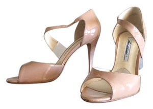 Brian Atwood Peep Toe Leather Lining Leather Sole Patent Leather Nude Pumps