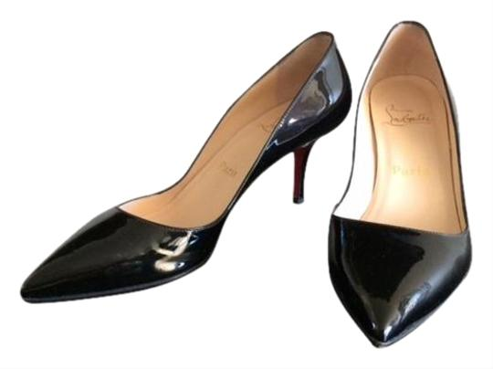 Christian Louboutin Patent Leather Pointed Toe Low Dipped Vamp Low Heel Black Pumps Image 0