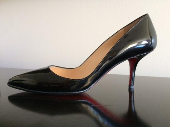 Christian Louboutin Patent Leather Pointed Toe Low Dipped Vamp Low Heel Black Pumps Image 1