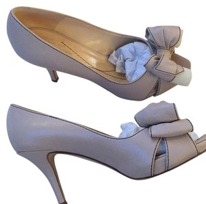 Kate Spade Bow Leather Wedding Off White Neutral Ecru Tan Black Stitch Cream Formal