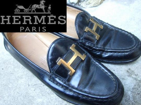 Hermès Loafers Leather Gold Metal 35 5 Black Flats
