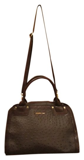London Fog Ostrich Print Dome Satchel Handbag Purse Gold Hardware Zipper Pockets Cloth Lining Dust Cover Included Shoulder Bag