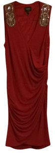 Laundry by Shelli Segal Embellished Ruched Slimming Flattering Red Dress