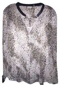 DKNY Top White leopard