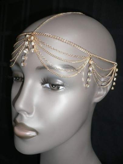 Other Women Gold Head Metal Body Chain Jewelry Rhinestone Fashion Hair Accessories
