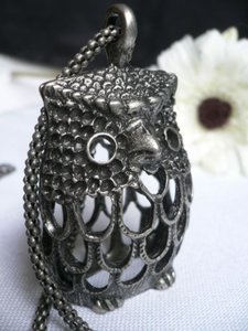 Other Women Fashion Long Necklace Silver Owl Pendant Wing Penny Leafs